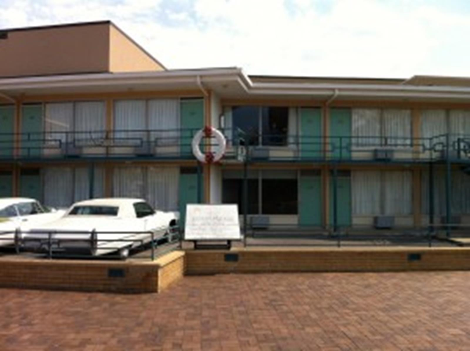 The Civil Rights Museum at the Lorraine Motel, the wreath marks the approximate spot where Dr. King was assassinated.