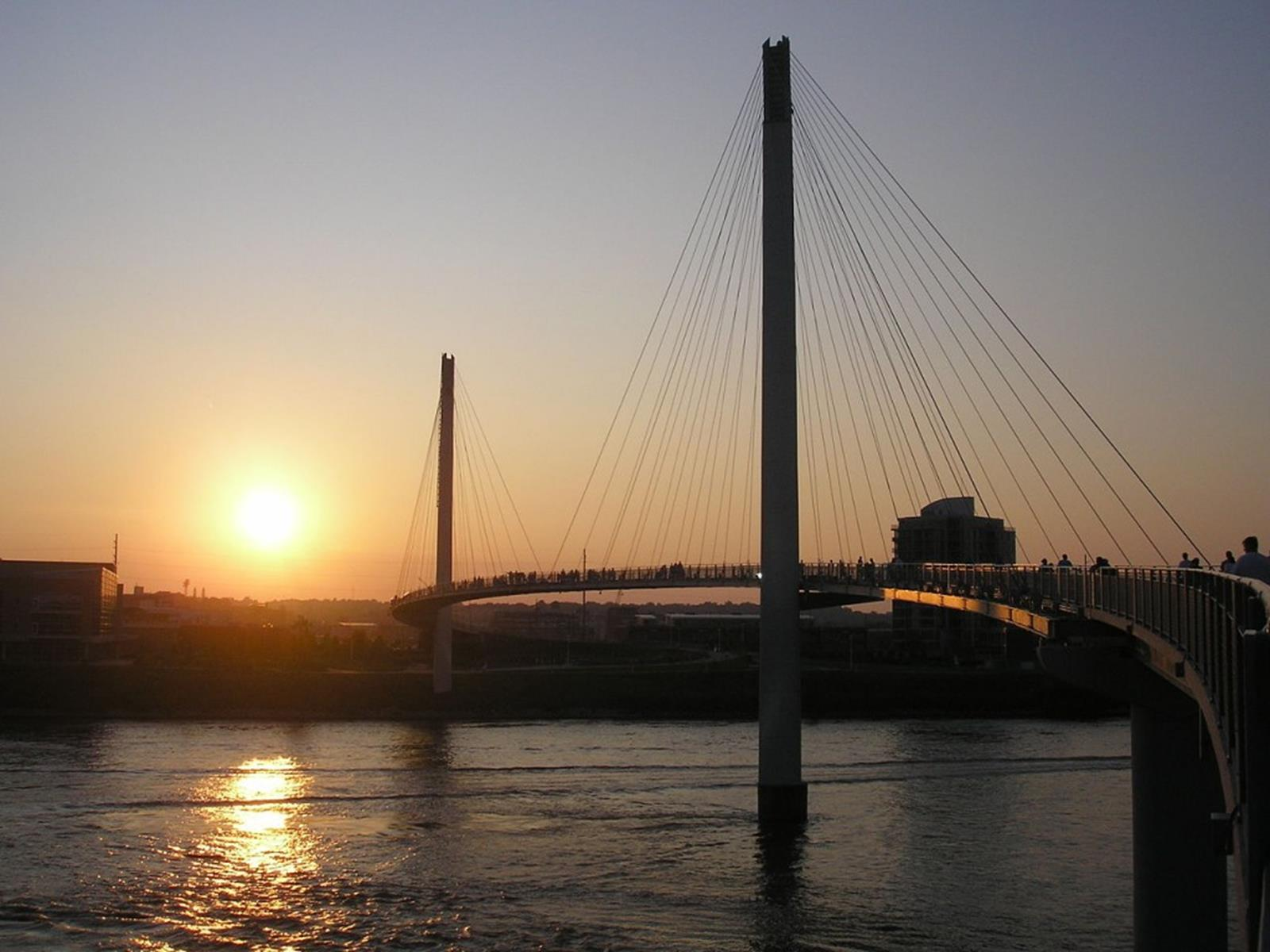 Bob Kerrey Pedestrian Bridge at Sunset