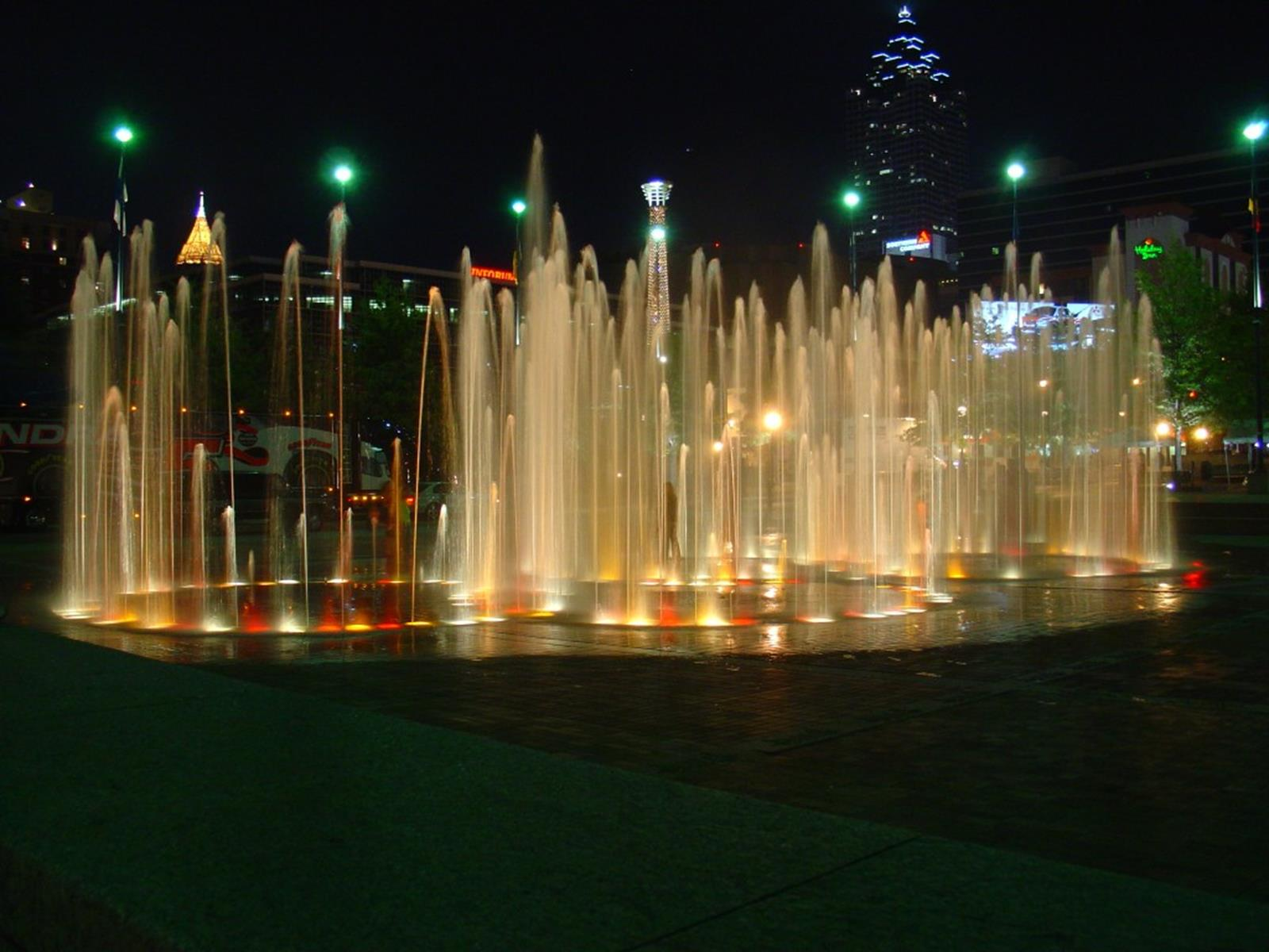 Centennial Olympic Park Fountains at Night
