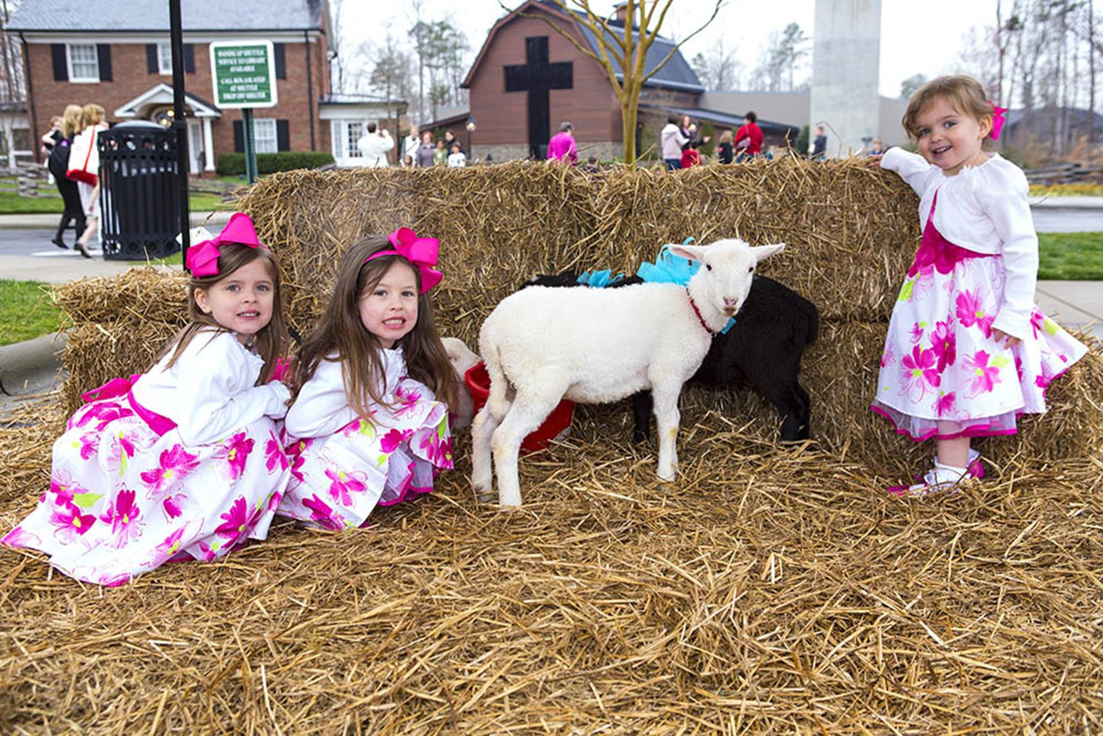 Children visit the lambs during the annual Easter celebration at the Library.