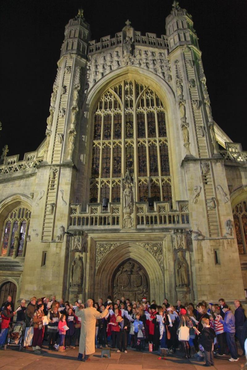 Christmas carols outside Bath Abbey
