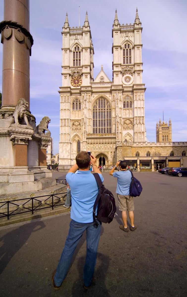 People photographing the grand west front of Westminster Abbey