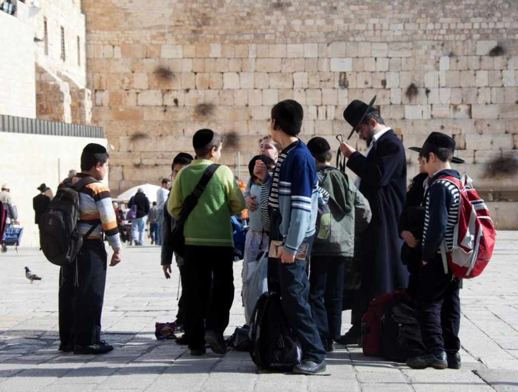 Group of Jewish children with Western wall on background